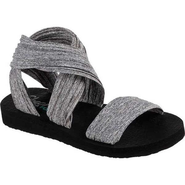 e39e8363c4db Shop Skechers Women s Meditation Still Sky Ankle Strap Sandal Gray ...