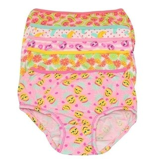 1000% Cute Little Girls Yellow Pink Fruit Print Cotton 5 Pc Underwear Set 4T