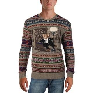 Polo Ralph Lauren Mens Iconic Bear Isle Crewneck Sweater Wool Long Sleeves