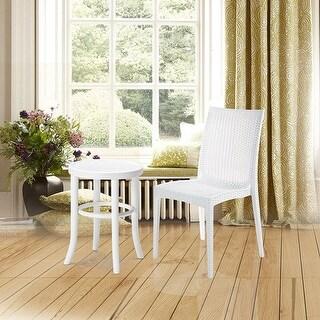 VECELO Modern Patio Garden Outdoor Furniture Resin Wicker Dining Chairs Set of 4