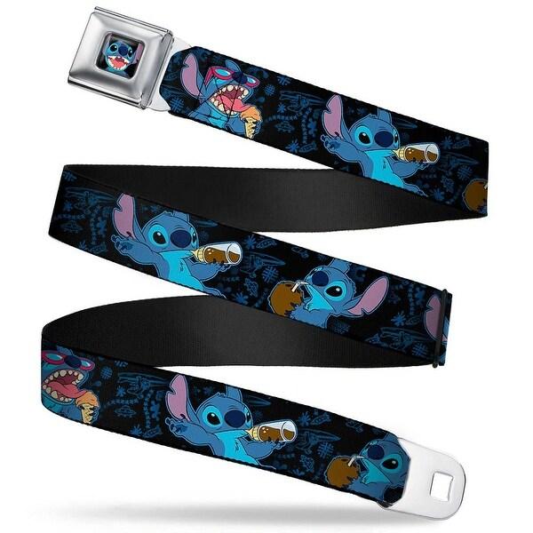 Stitch Smiling Close Up Full Color Black Stitch Snacking Poses Black Blue Seatbelt Belt