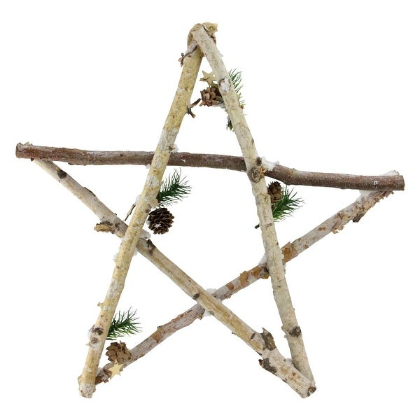 """17.75"""" Large Rustic Snowy Wood Branch Star Christmas Ornament"""