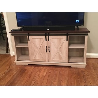 shop the gray barn wind gap rustic sliding barn door tv console on sale free shipping today. Black Bedroom Furniture Sets. Home Design Ideas