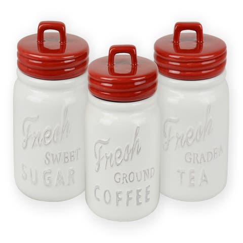 Set of 3 Classic Red Ceramic Jar Canisters
