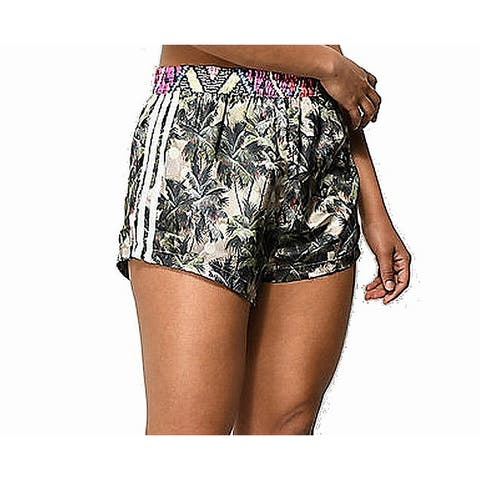 Adidas Women's Shorts Green Size Large L Palm Print High Waist Pull On