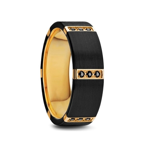 Muramasa Flat Brushed Black Titanium Ring Gold Plated Inside With 6 Gold Plated Stainless Steel Diamond Setting