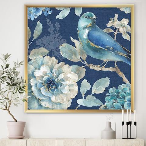 Designart 'Indigold Bird Cottage Family III' Farmhouse Framed Art Print