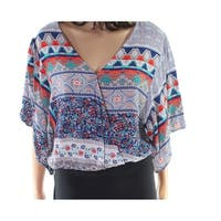 Polly & Esther Blue Size Medium M Junior Tribal Print V-Neck Blouse