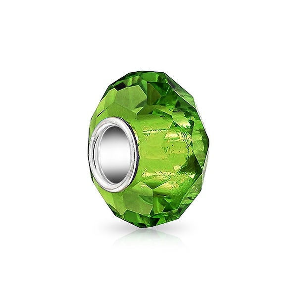 Bling Jewelry Green Faceted Crystal Imitation Peridot glass Charm Bead .925 Sterling silver