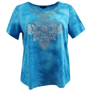Women Plus Size Short Sleeve Tie Die Cotton Knit Top Tee T-Shirt Blue