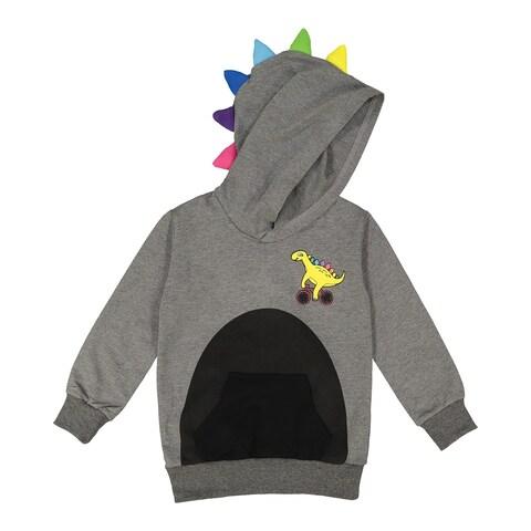 Doodle Pants Toddler Dinosaur Hoodie - Children's Kid's Hooded Sweatshirt - Gray
