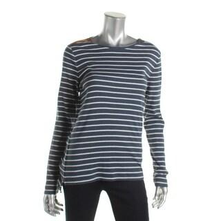 Lauren Ralph Lauren Womens Pullover Top Zip Shoulders Striped
