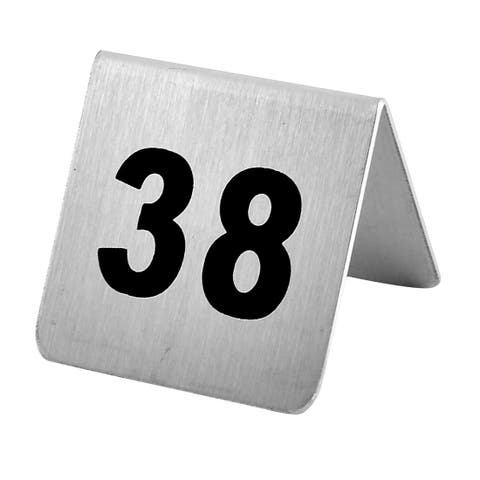 Restaurant Stainless Steel Free-standing Number 38 Table Sign Black Silver Tone