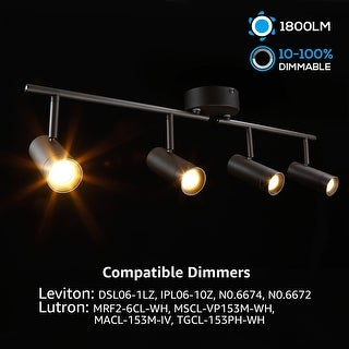 4-in-1 Smooth Dimming LED Track Light, Industrial Style for Private studio, 1800lm 2700K Soft White
