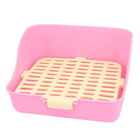 Pink Yellow Rectangle Mesh Design Indoor Dog Rabbit Pet Toilet