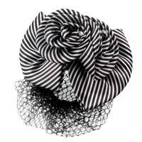 Unique Bargains Unique Bargains Women Black White Striped Polyester Bowknot Decor Hair Snood Barrette
