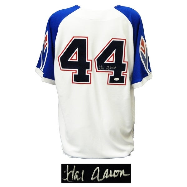 new style 6bdec 166de Hank Aaron Atlanta Braves White Blue Sleeve Throwback 1974 Style  Cooperstown Collection Jersey