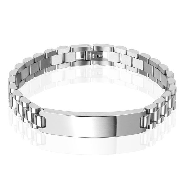 10mm Classic Chain with ID Plate Stainless Steel Bracelet (10 mm) - 8.5 in