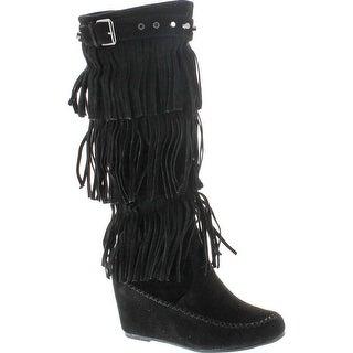 Nature Breeze Bridget-02Hi Moccasin Fringe Fashion Boots - Black