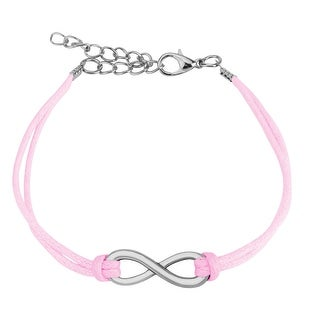 Small Infinity Symbol Cast Iron Leatherette Bracelet with Lobster Claw Clasp (8 mm) - 7.5 in