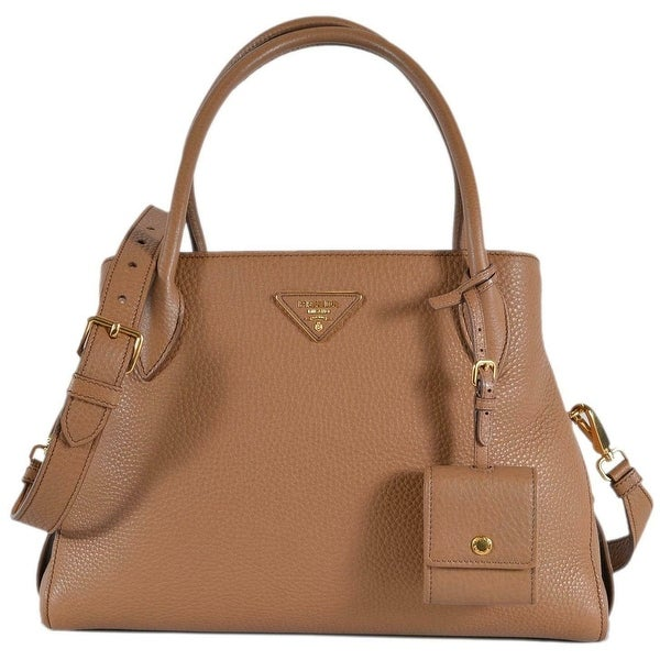 435993ff2c1158 Prada 1BA127 Vitello Daino Leather Center Zip 2-Way Handbag Purse Bag -  Beige/