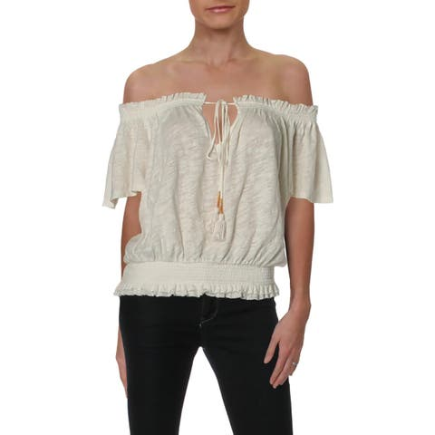 We The Free Womens Hummingbird Blouse Linen Smocked - S