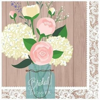 """Club Pack of 192 Rustic Wedding 2-Ply Disposable Lunch Party Napkins 6.5"""""""