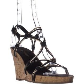 Aerosoles Real Plush Wedge Sandals, Black Combo