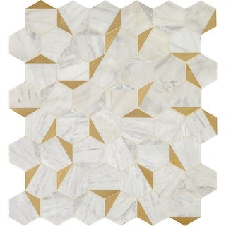 """Daltile LVILUSNRYMS1P  Lavaliere - 15"""" x 14"""" Sheet Hexagon Mosaic Wall Tile - Matte Marble Visual - Sold by Sheet"""