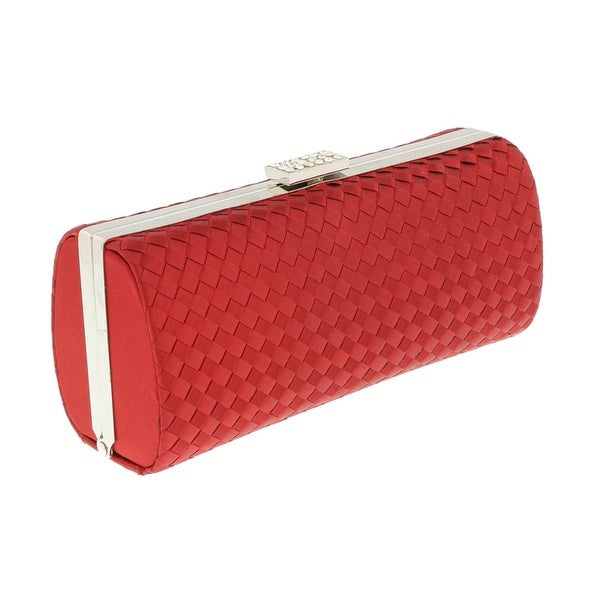 Scheilan Red Fabric Weave Box Clutch/Shoulder Bag - 7.5-3.5-2