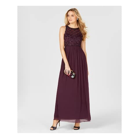 ADRIANNA PAPELL Purple Spaghetti Strap Maxi Dress 14