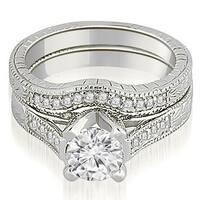 0.85 CT.TW Antique Cathedral Round Cut Diamond Engagement Set - White H-I