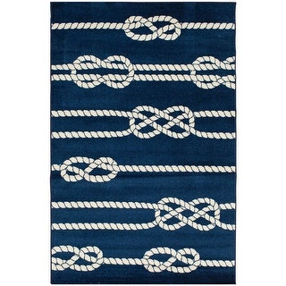 Tecopa Navy Nautical Rope Design Indoor Outdoor Woven Area Rug