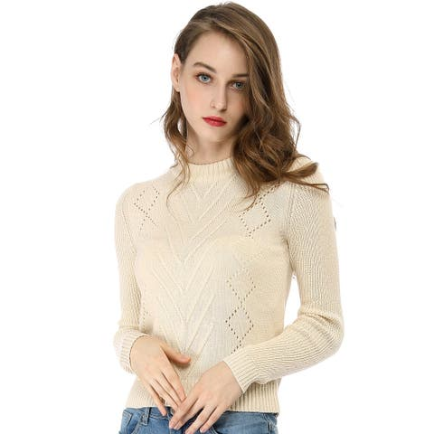Women's Crew Neck Pointelle Hollow Sweater Slim Fit Cropped Knitted Top - Biege