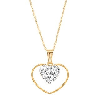 Double Open Heart Pendant with Crystals in 14K Gold
