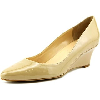Cole Haan Catalina Wedge Women Open Toe Patent Leather Nude Wedge Heel