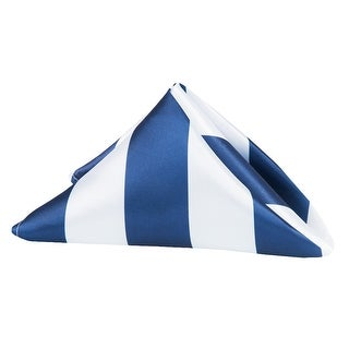 "10 Pieces, Stripe 20""x20"" Satin Napkin Approx. 20""x20"" square Edge:Hemmed - Navy Blue & White"