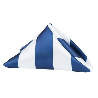 "50 Pieces, Stripe 20""x20"" Satin Napkin Approx. 20""x20"" square Edge:Hemmed - Navy Blue & White"