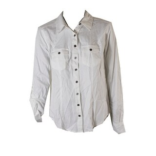 Style & Co Bright White Two-Pocket Button-Down Denim Shirt M