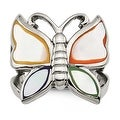 Chisel Stainless Steel Polished and Enameled Shell Butterfly Ring - Thumbnail 0