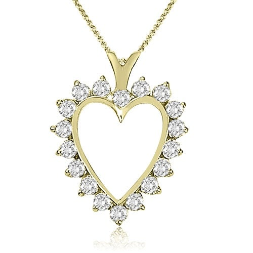 2.00 cttw. 14K Yellow Gold Round Cut Diamond Heart Shape Pendant - White H-I