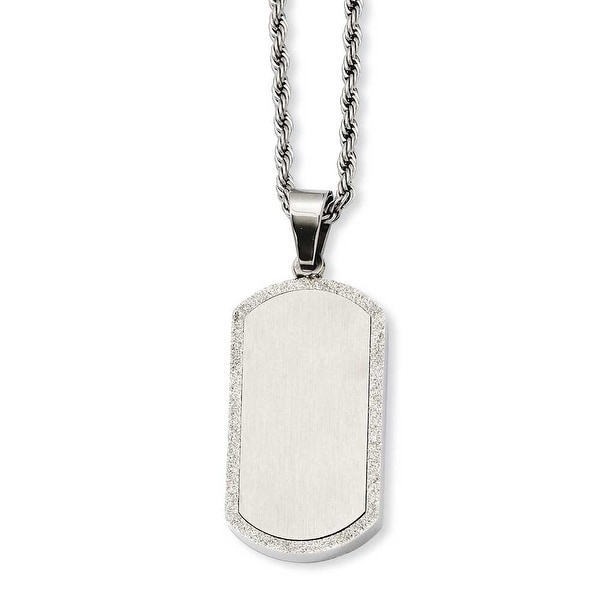 Stainless Steel Laser Cut Dogtag Pendant 22in Necklace (3 mm) - 22 in