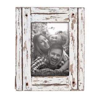Link to Foreside Home & Garden White 5 x 7 inch Decorative Distressed Wood Picture Frame Similar Items in Decorative Accessories