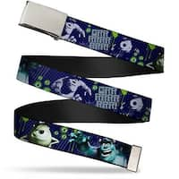 Blank Chrome  Buckle Monsters Inc. Sully & Mike Poses Grrrrr! Webbing Web Belt