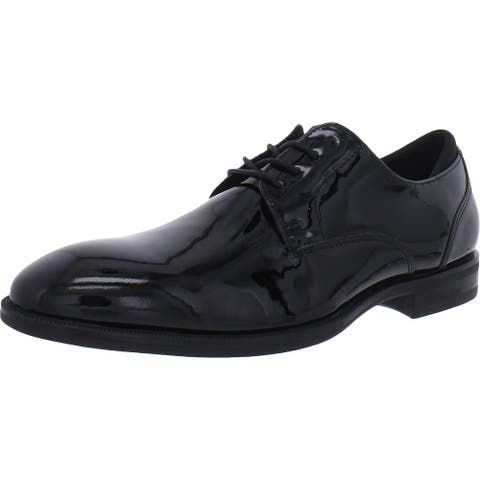Kenneth Cole New York Mens Oxfords Patent Leather Lace-Up - Black