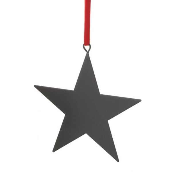 "6"" Black Chalkboard-Finished Star Christmas Ornament for Personalization"