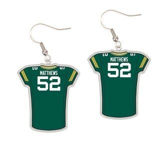 Green Bay Packers #52 Clay Matthews Dangle Jersey Earrings