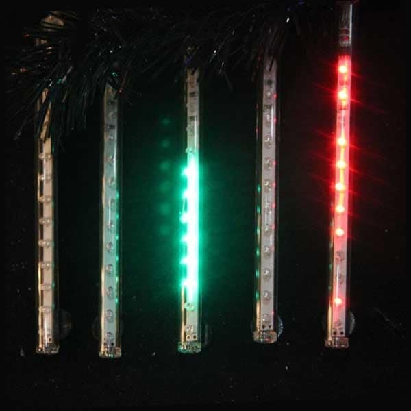 "Snowfall - Set of 5 14"" LED Outdoor Christmas Icicle Light Tubes w/Adapter-Multi - CLEAR"