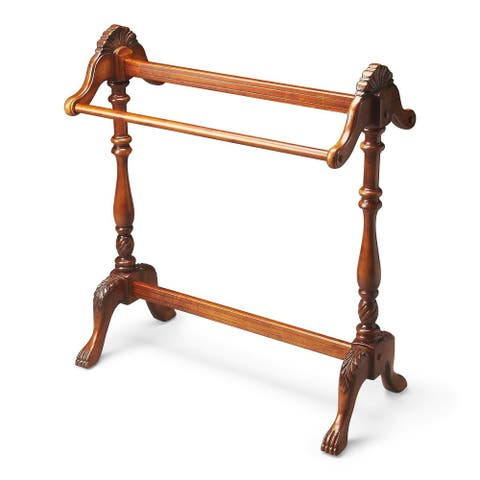 Offex Traditional Wooden Blanket Stand in Vintage Oak Finish - Medium Brown
