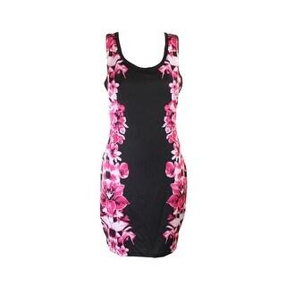 Rampage Juniors Black Side-Printed Bodycon Tank Dress S